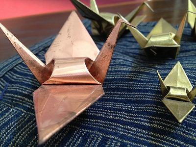 銅板折り鶴