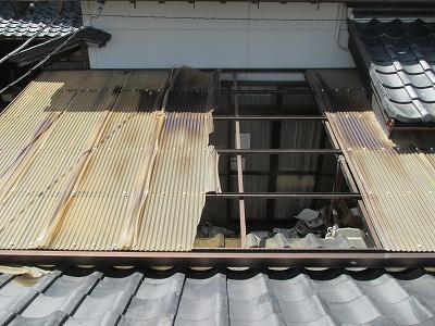 テラス屋根被害