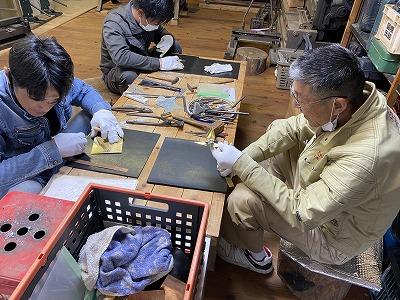銅板折り鶴作り